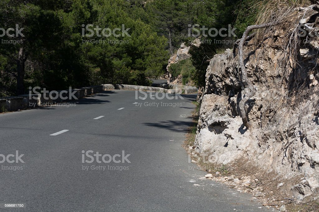 Mountain road in Mallorca, Spain. stock photo
