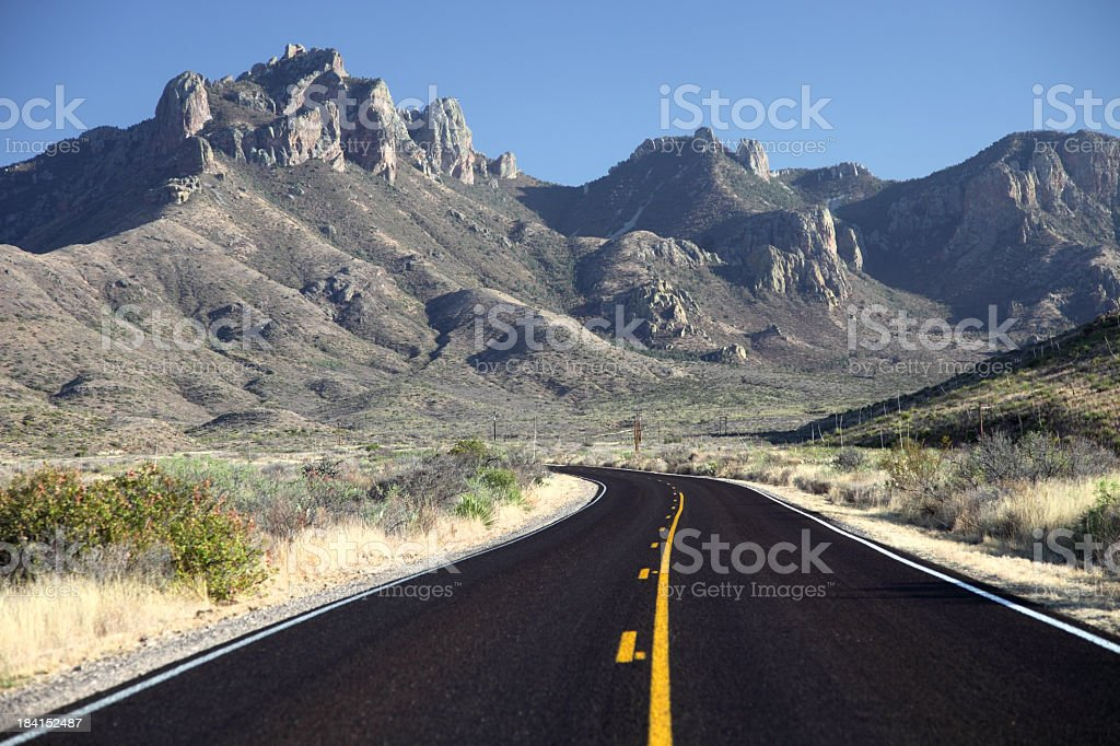 Mountain Road in Texas near Big Bend National Park stock photo