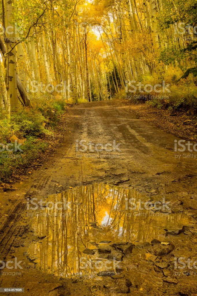 Mountain Road in the Colorado Mountains during the Fall season stock photo