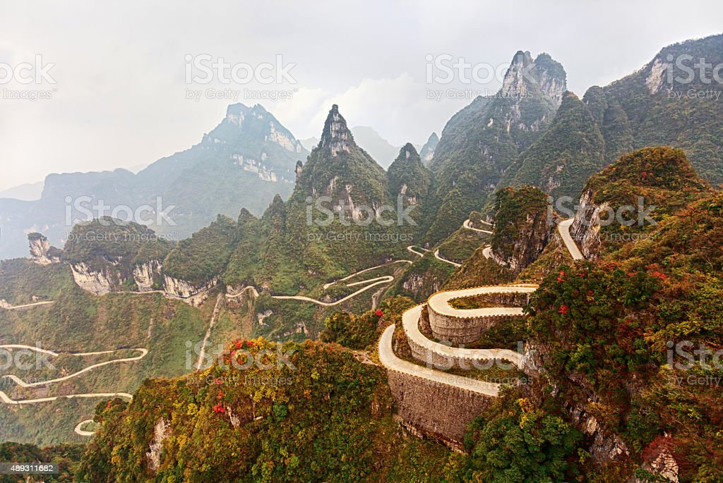 Mountain road in Tianmen Mountain National Park, Zhangjiajie, China stock photo