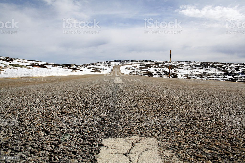 Mountain road in winter. royalty-free stock photo