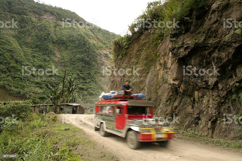 mountain road jeepney driving philippines royalty-free stock photo