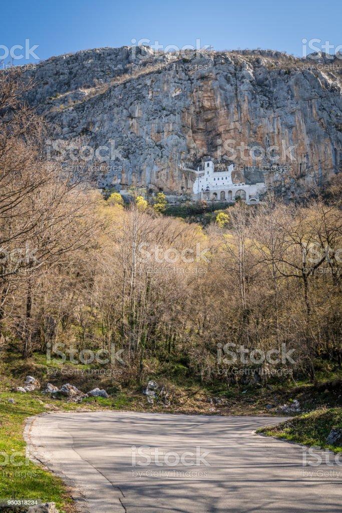 Mountain road leading to the famous Ostrog Orthodox monastery stock photo
