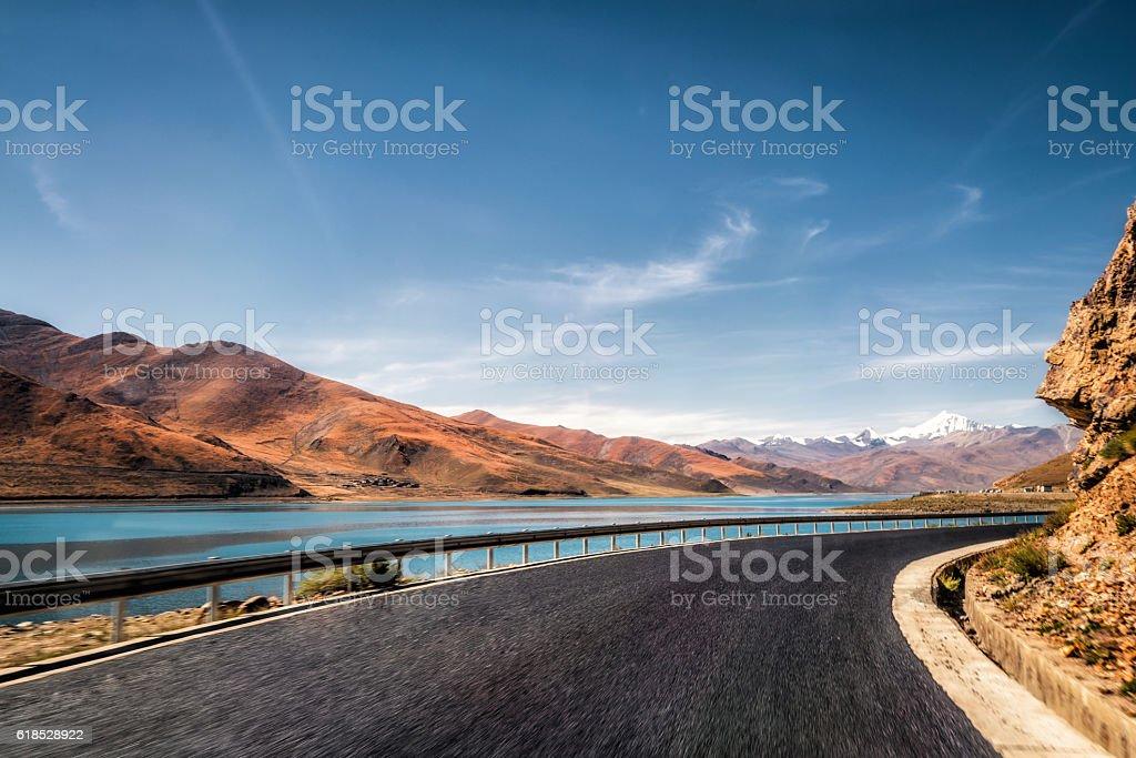 mountain road of lakeside stock photo