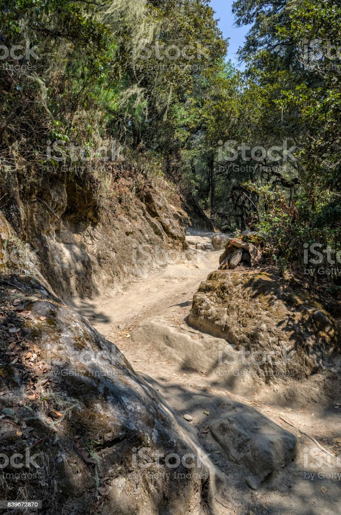 Mountain road of pilgrimage to the Tiger Nest Taktshang monastery, Bhutan stock photo