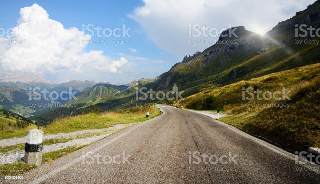 Mountain Road on European Alps. stock photo