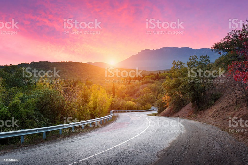 Mountain road passing through the forest stock photo