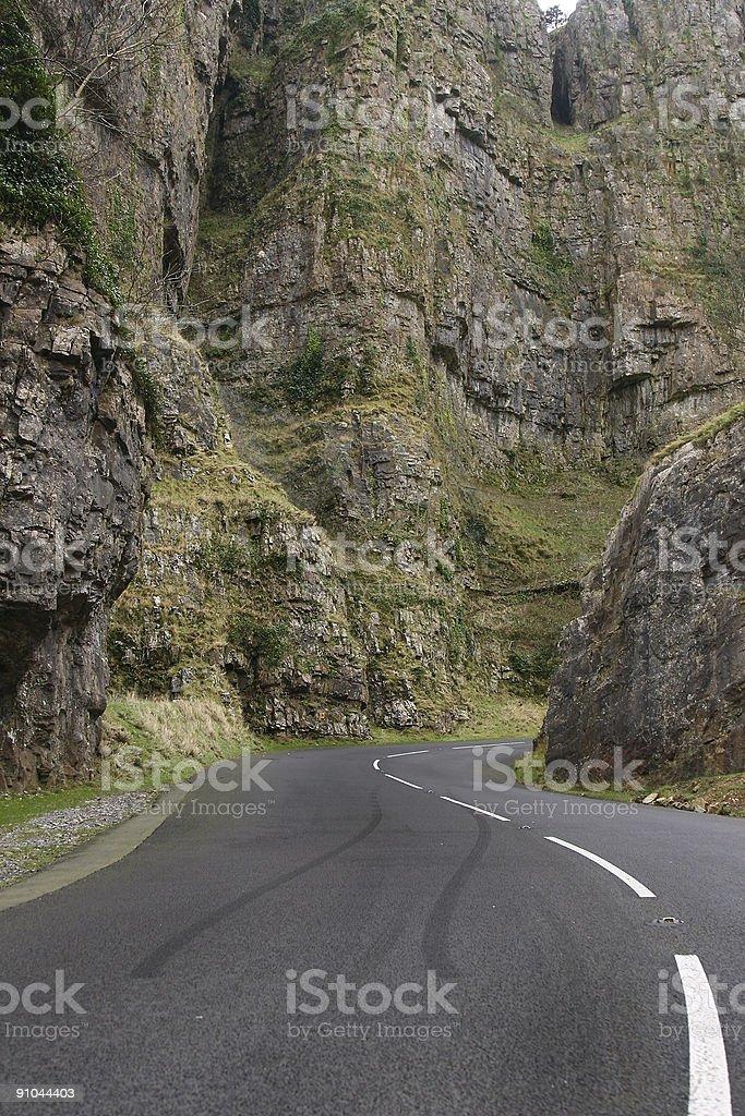 Mountain road skids stock photo