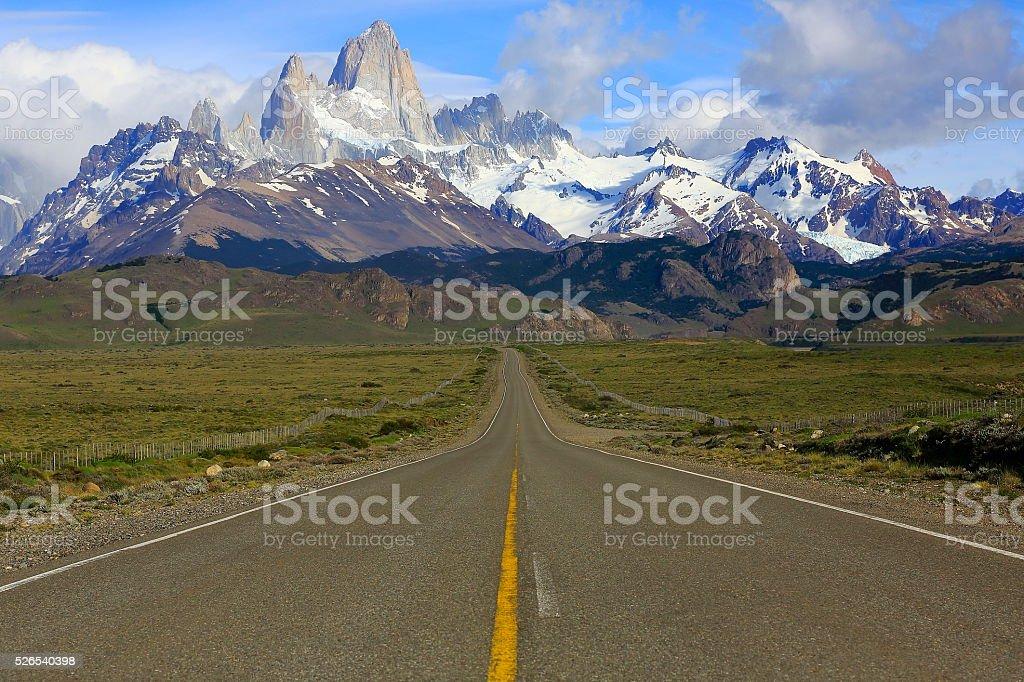 Mountain Road to Chalten, Fitzroy, Patagonia Argentina, Los Glaciares stock photo