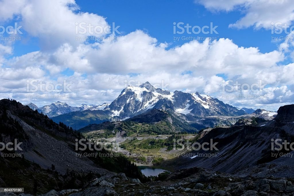 Mountain road to ski area. stock photo