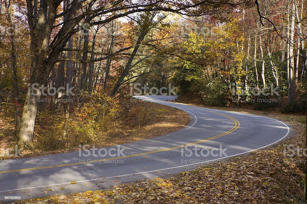 Mountain road winds through sunlit autumn forest. royalty-free stock photo