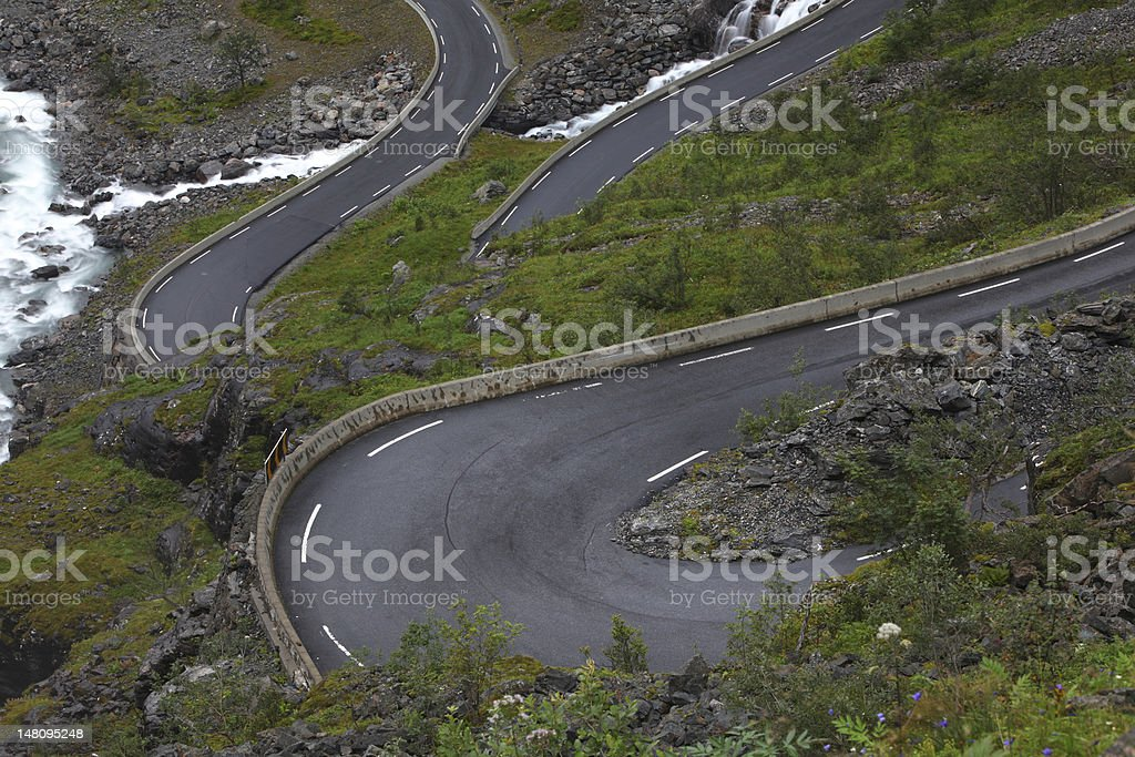 Mountain road with dangerous curves royalty-free stock photo