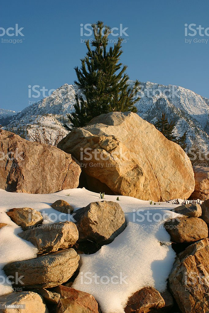 Mountain Rocks and Snow royalty-free stock photo