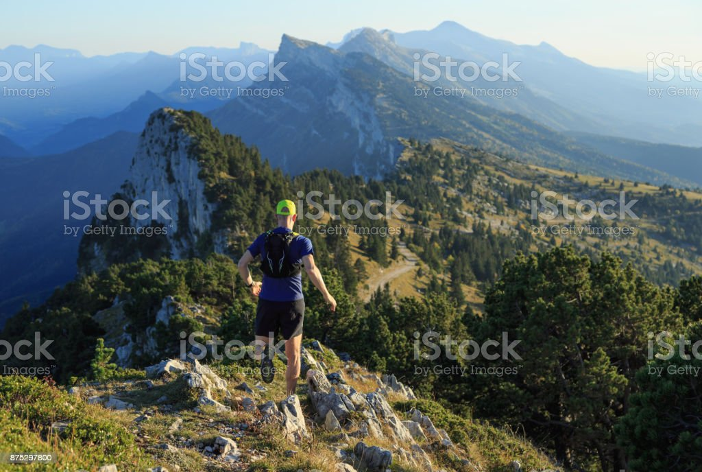 Mountain run stock photo