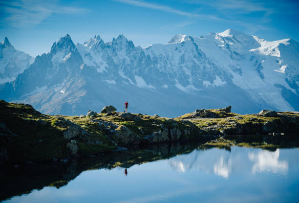Mountain run stock photo