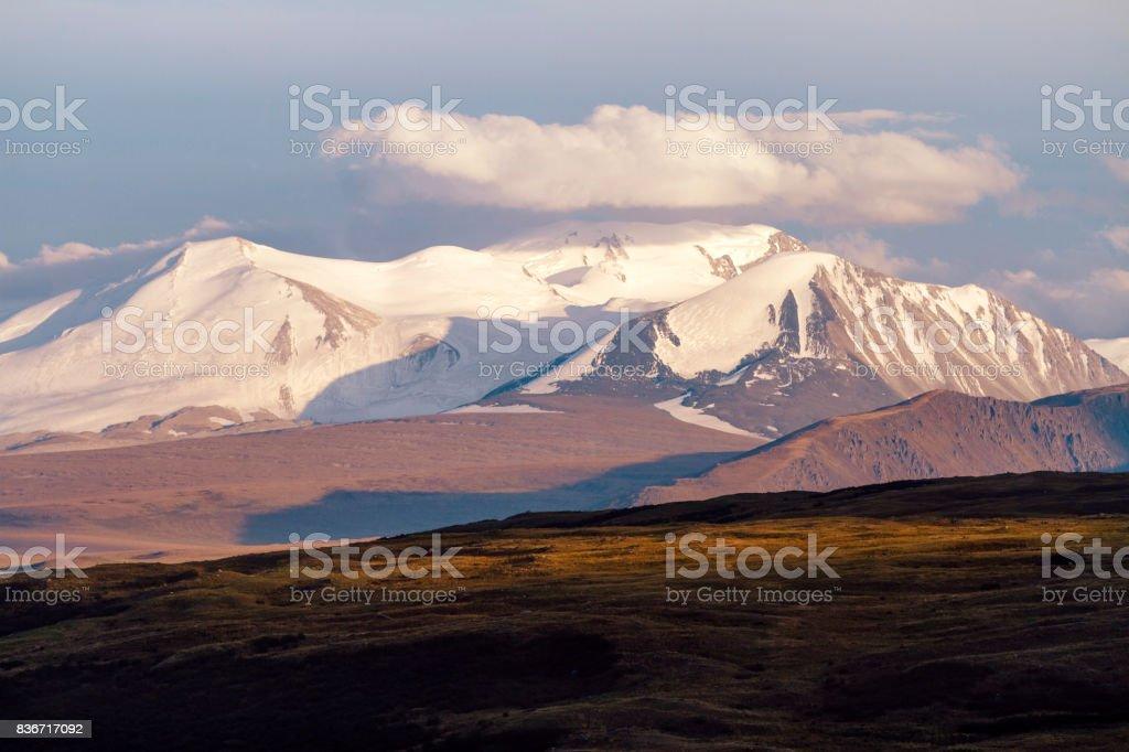 mountain russia siberia altai sky autumn unesco plateau mongolia view ukok landscape steppe highlands cloud background reserve nature travel field stock photo