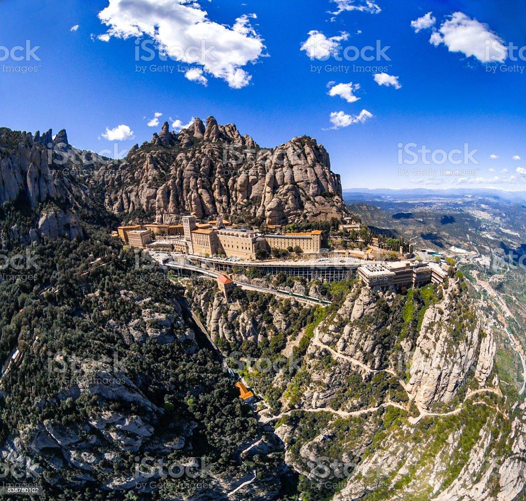 mountain sanctuary montserrat colour air top view stock photo