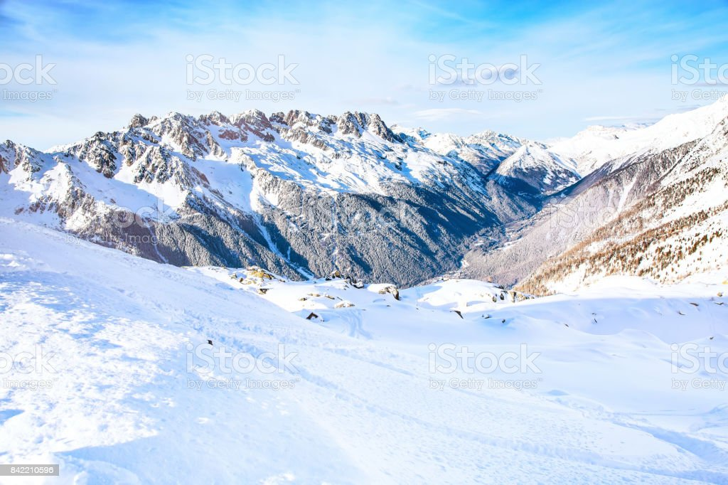 Mountain scape and Chamonix town view from the station of Aiguille du Midi stock photo
