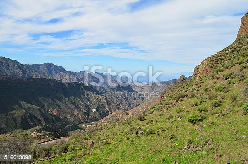 Green Mountain scapes from the island of Gran Canaria in  Spain