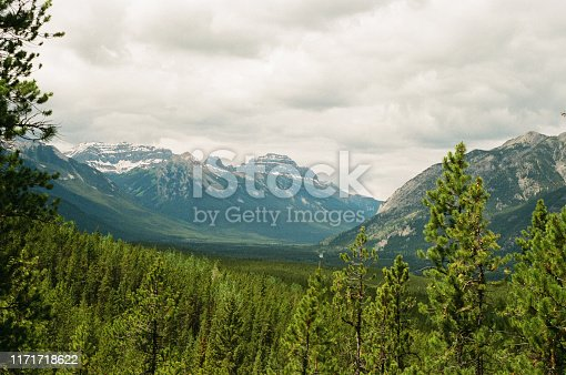 Mountains in landscape in Banff National Park in Alberta Canada, shot on film