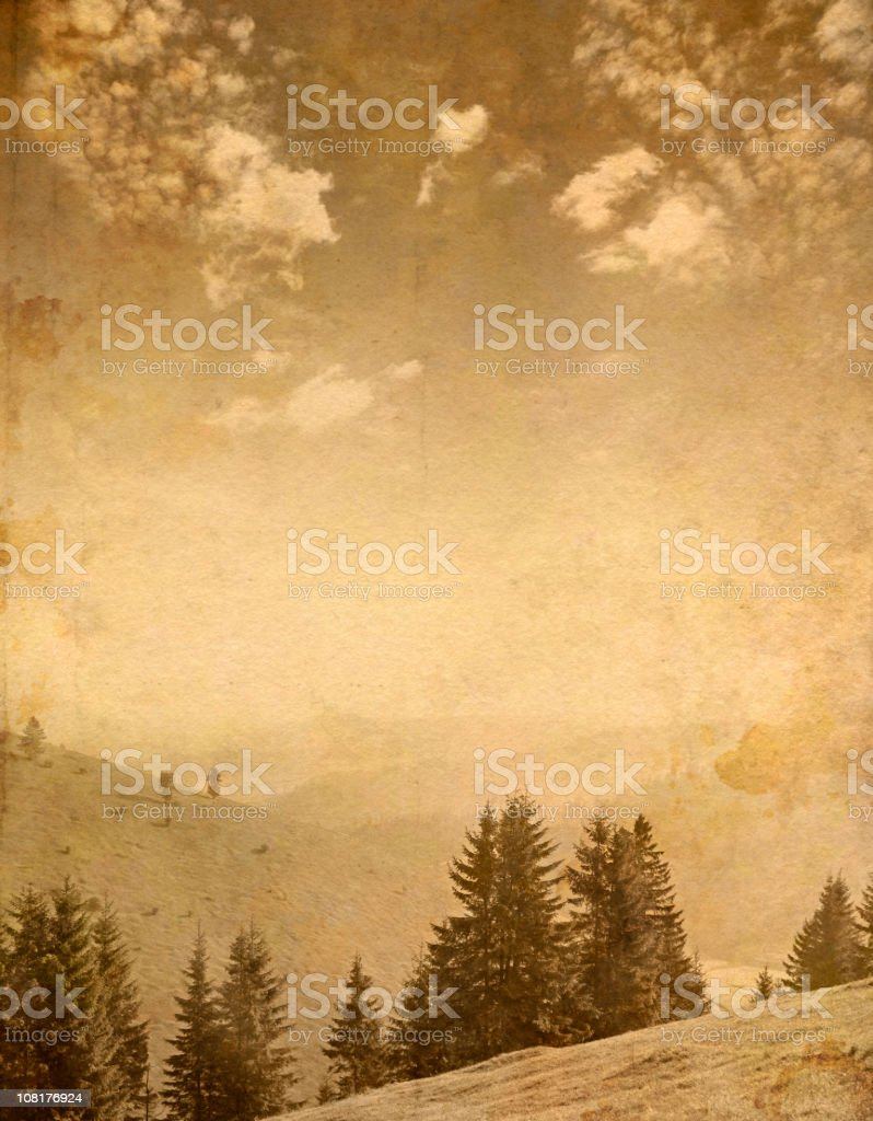 mountain scene on old paper royalty-free stock photo