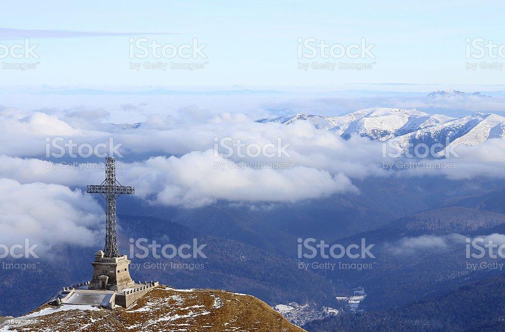 Mountain scene with cross stock photo