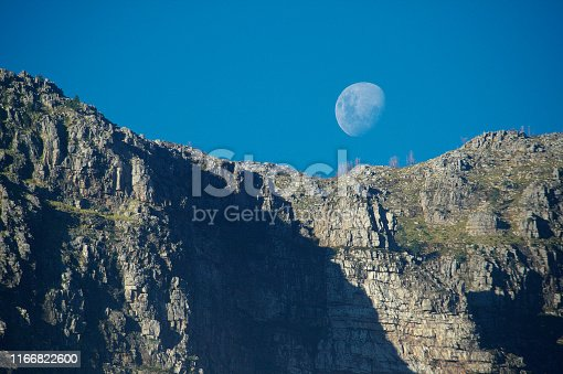 Mountain scene with the moon rising Banhoek Valley Stellenbosch Cape Winelands South Africa