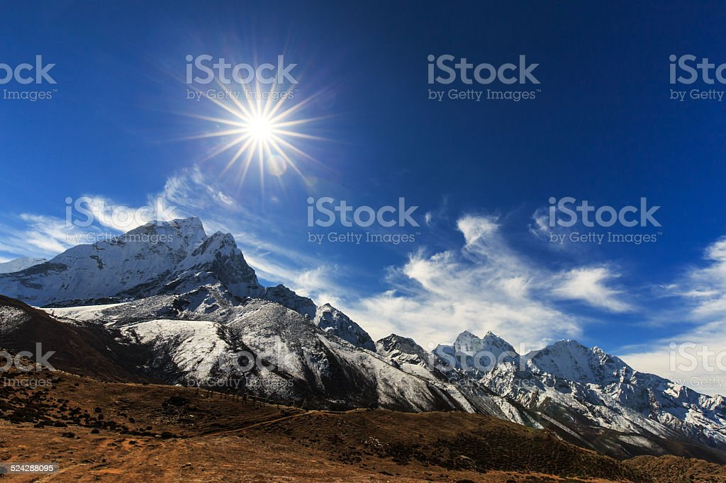 Mountain scenery in Himalaya stock photo
