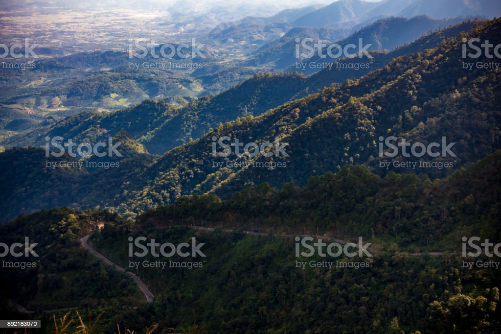 Mountain scenery, sky and clouds. stock photo