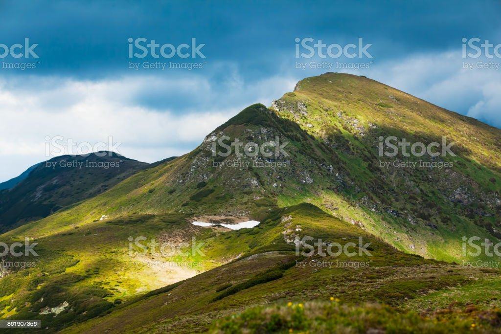 Mountain scenic landscape , summer outdoor mountain view with peak stock photo