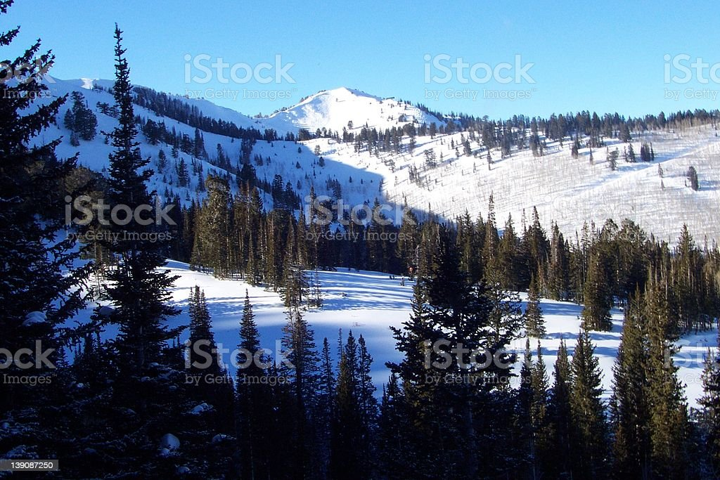Mountain scenic with tree shilloete in the foreground stock photo