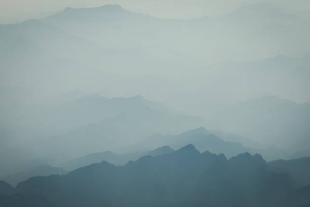 mountain sea of clouds - low contrast stock pictures, royalty-free photos & images