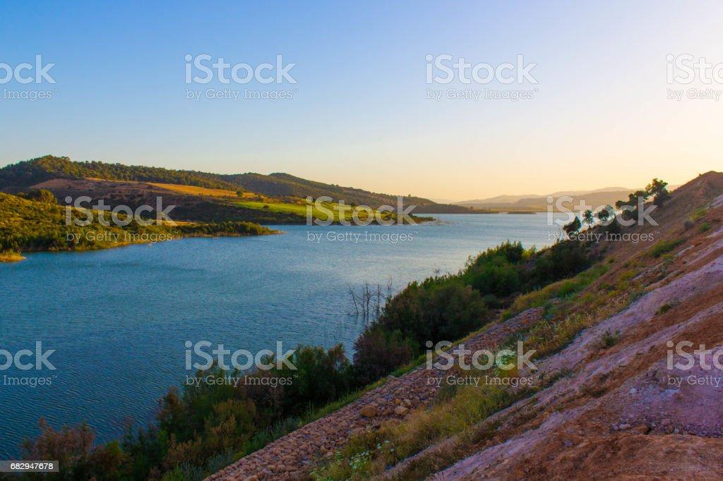 mountain sea sky water royalty-free stock photo