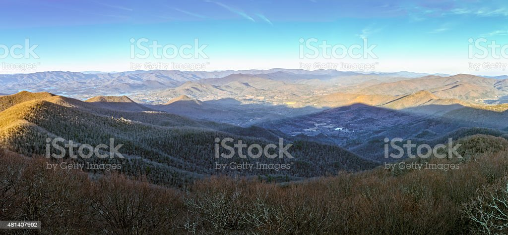 Mountain Shadow Panorama stock photo