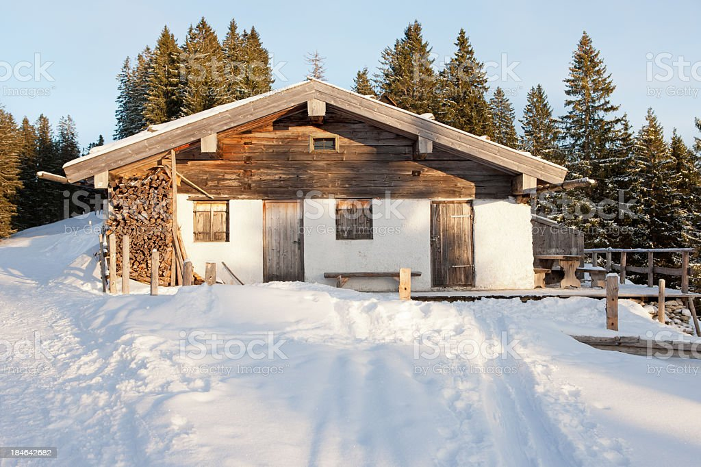 Mountain shed stock photo