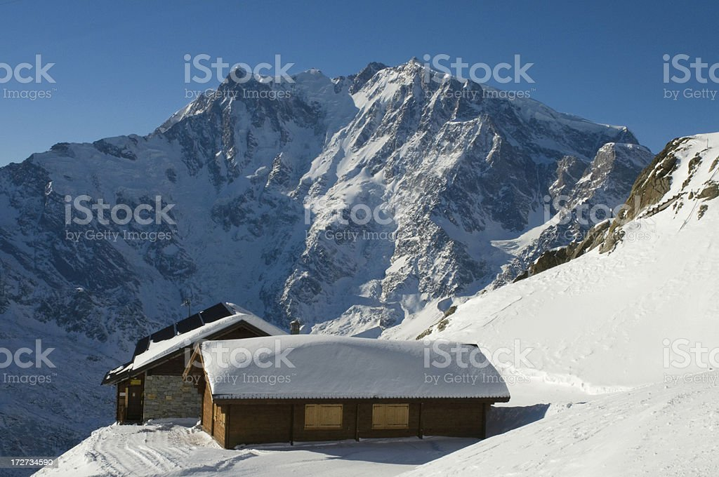 Mountain shelter facing Monte Rosa, Italy royalty-free stock photo