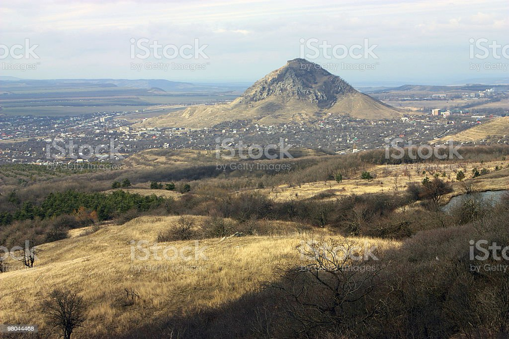 Mountain Sheludivaya and city Lermontov. royalty-free stock photo