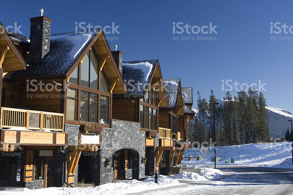 Mountain Shops and Chalets stock photo