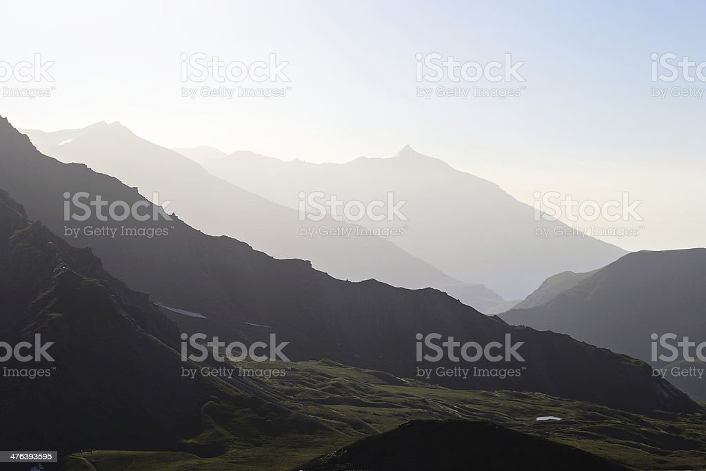 Mountain silhouette at sunrise royalty-free stock photo
