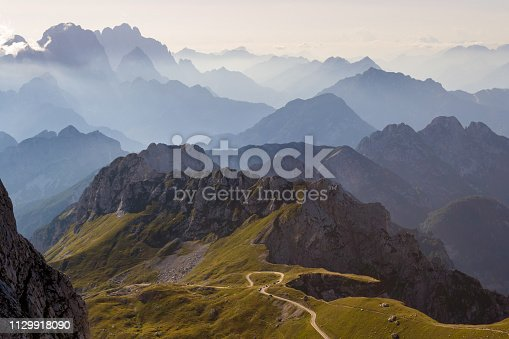 Mountain silhouettes in the Julian Alps, Slovenia, at sunset, in a warm late Summer day, as seen comming down from Mangart peak