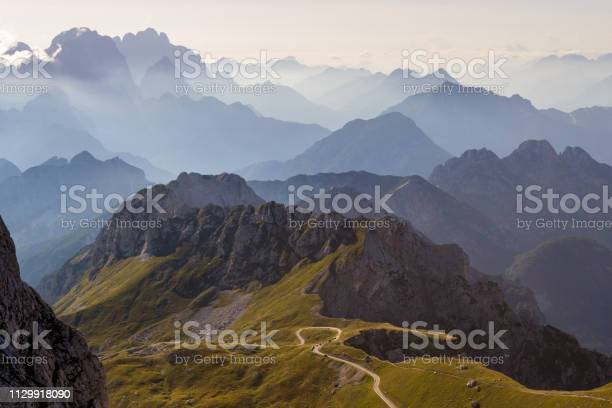 Photo of Mountain silhouettes in the Julian Alps, Slovenia, at sunset, in a warm late Summer day, as seen comming down from Mangart peak