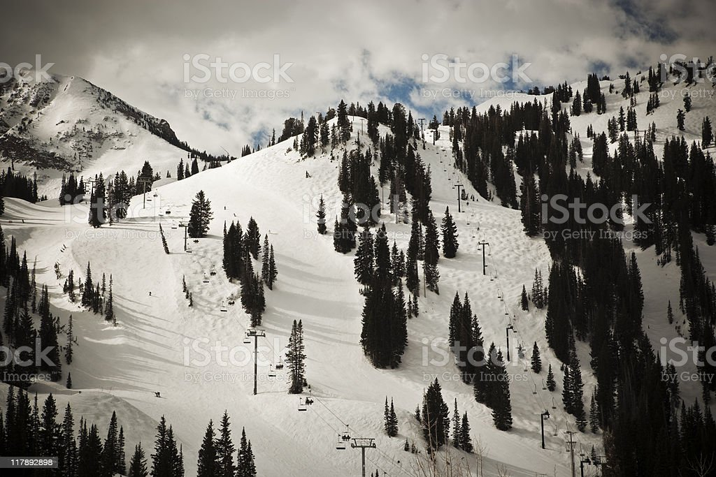 Mountain Ski Lifts royalty-free stock photo