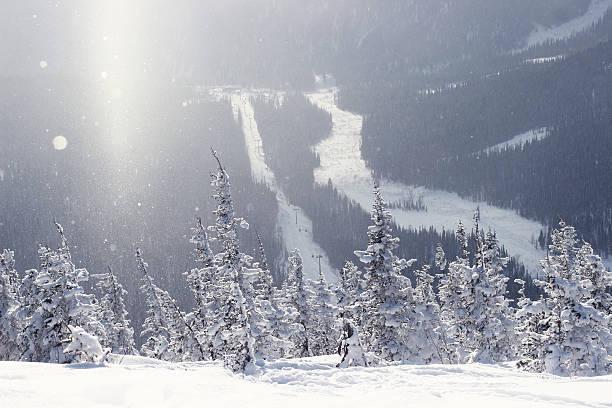 Mountain ski resort Sheregesh, Russia - nature and sport backgro stock photo