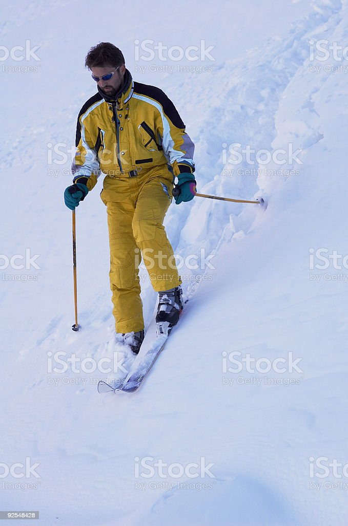 Mountain skier (two) royalty-free stock photo