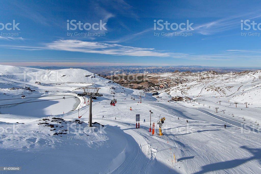 Mountain skiing - Pradollano, Sierra Nevada, Andalusia, Spain stock photo