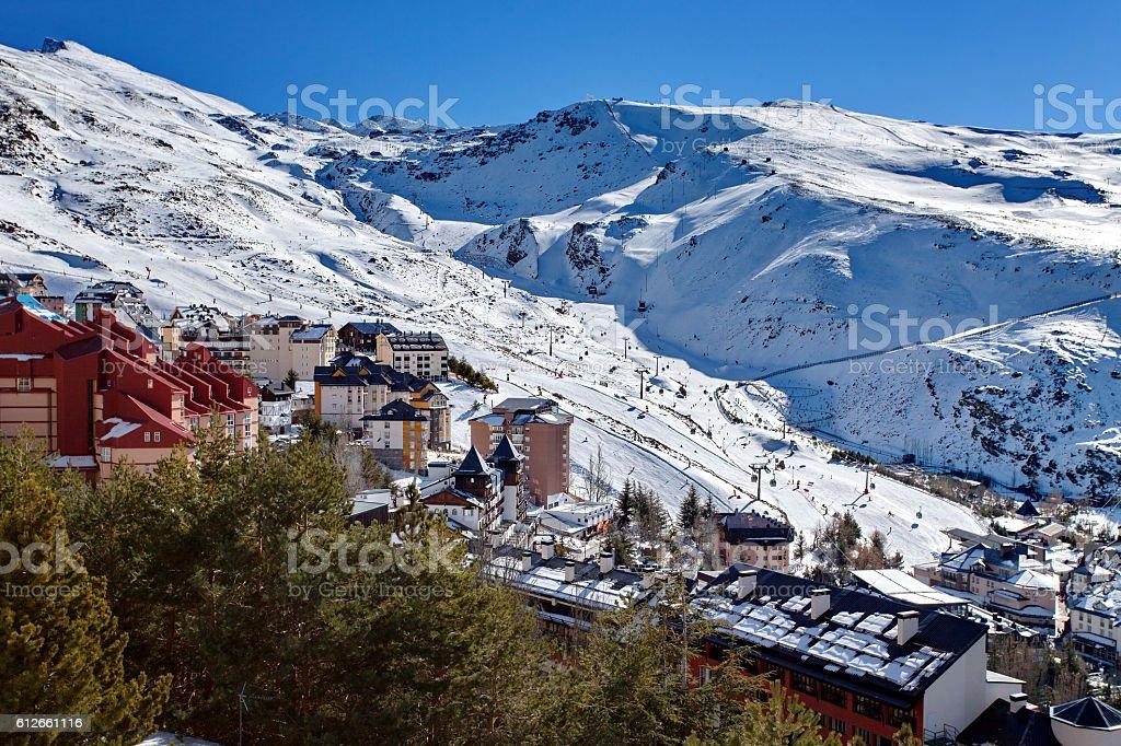 Mountain skiing - Pradollano, Sierra Nevada, Spain stock photo