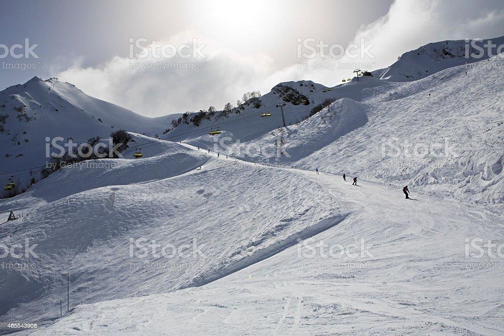 Mountain skitrack on the slope of Caucasus Mountains stock photo