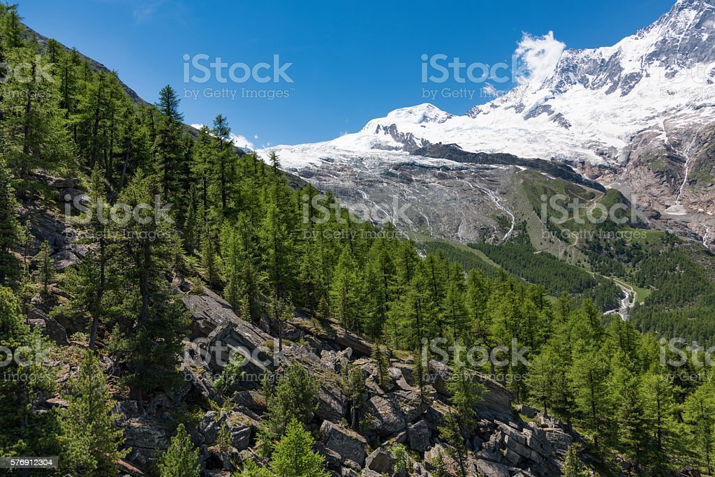 Mountain slope near Saas-Fee in the Swiss Alps stock photo