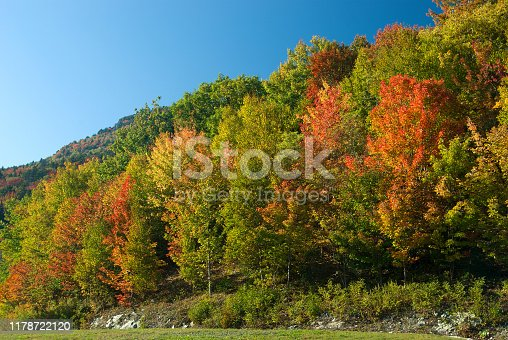Mountain slope on Blue Ridge Parkway ablaze with beautiful fall colors on a sunny, clear day.