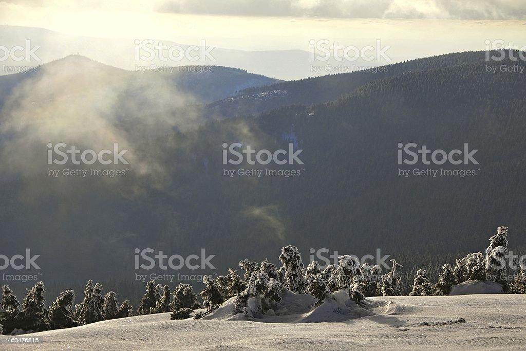 mountain slopes panorama stock photo